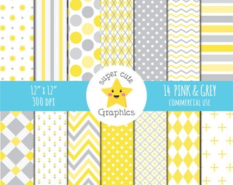 50% sale yellow and grey digital paper, commercial use, digital paper, yellow, grey paper, paper pack, chevron paper, polka dots paper