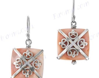 """925 Sterling Silver 5/8"""" Pink Mother Of Pearl Shell Earrings"""