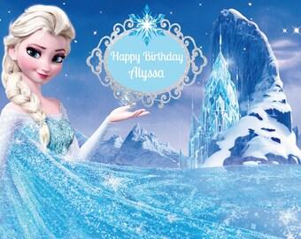 PRINTED Custom Frozen Birthday Party Backdrop - Frozen Birthday Party Background - Anna and Elsa Party Decoration - Frozen Banner