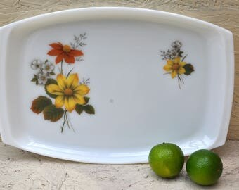 Original 1960s Vintage Pyrex Serving Platter, Tray with Retro Floral Pattern