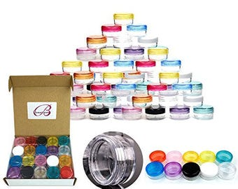 5 Gram 5 ml Round Clear Acrylic Small Sample Jars with Mixed Lids - Store Beads Gems Glitter Charms Rhinestones and other Nail Accessories