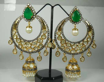 Victorian style 10.50ctw rose cut diamonds polki emerald pearl sterling silver Statement long danglers earrings chand bali mughal jhumka