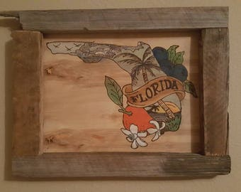 Wooden Picture of Florida