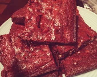 Red Velvet Brownies with White Chocolate Chips!!
