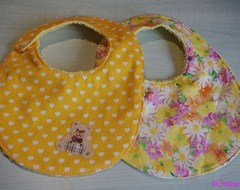 Set of two bibs 0/6 month baby Terry and cotton colors of the Sun