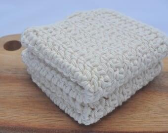 100% Organic Cotton Washcloth - 2 pack - Hand Crocheted