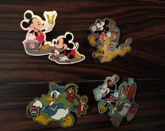 Disney WDW Donald Duck & Chip and Dale, Mickey and Pluto, Minnie and Daisy Pin Set