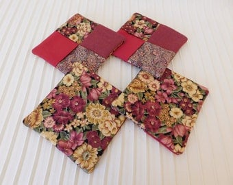 Coasters Set of 4 deep Red and flowers. Set 2