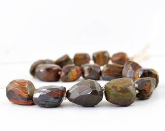 "Golden Tiger Eye Faceted Beads Strand of 13"" Inches"