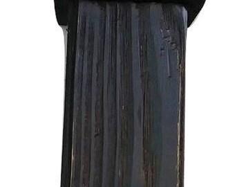 Rustic Aged Wood Column Table Lamp Dark Distressed Finish Black, Gray, Brown