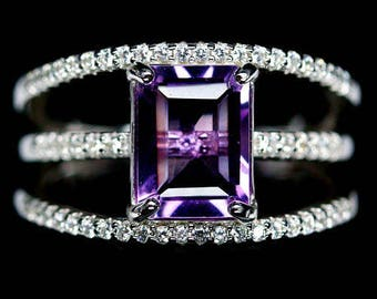 S925 silver plated ring gold amethyst and zirconium
