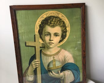 Vintage framed religious art Print-Boy Jesus-Saint-Catholic-Religious art-little boy-Christian-Church art-wall art-wall hanging-art-vintage