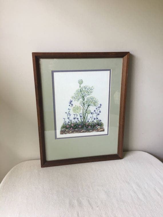 Queen anne's lace cross stitch - SIZE-17 in. tall-13 in. wide- lavender-green-off white -pink- farm house- country cottage-dandelion-floral