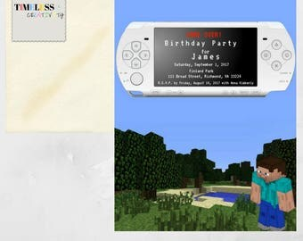 Printable Invitation Design for a Child Birthday Party! Great for kids who like Minecraft!