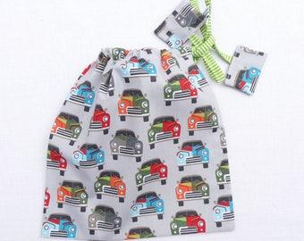 pochette original tissu 22 x 17 cm « voitures » cadeau garçon