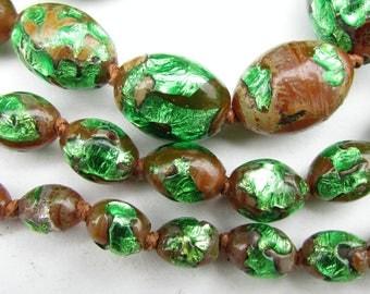 Art Deco Bohemian Long Green Foil Glass Beads Necklace