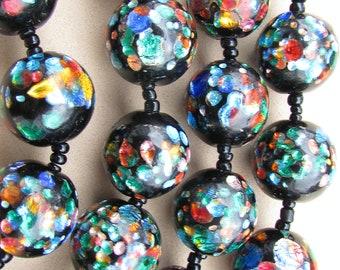 Art Deco Bohemian Black Rainbow Foil Glass Beads Necklace