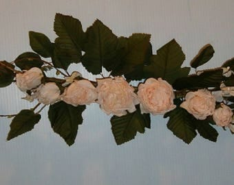 "Brand New 24 "" Beige  Cabbage Rose Swag, Home , Wedding Decor …"