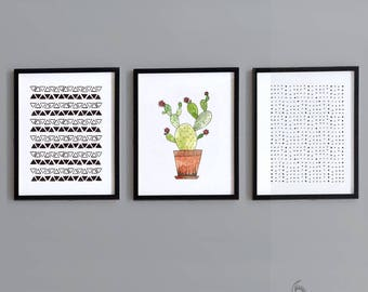 3 Piece Cactus Nursery Wall Art - Instant Download - Printable Art - Gender Neutral - Nursery Decor - Printable Nursery Art - DIY Print