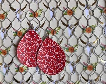 Xoxo valentine earrings, faux leather earrings, leather earrings, teardrop earrings, leather teardrop earrings, faux leather teardrops