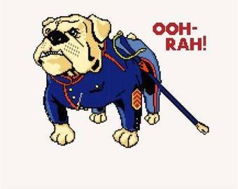 USMC Bulldog Mascot Cross Stitch Chart