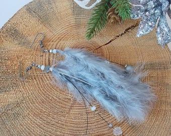 Feather Earrings, Gray Drop Earrings, Christmas Gift for Her, Long Dangle Earrings, Jewelry for Women, Festive Earrings, Light Gray