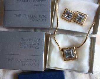 NIB Vintage Avon Square-Cut Lead Crystal Pendant Necklace and Clip Earrings Set, 1976
