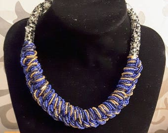 Afrocentric thick beaded statement necklace