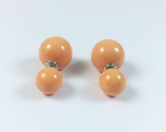 Orange ball Front Back Earrings