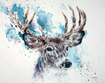 Heaven & Earth - White Tailed Deer Original Watercolor Painting High Quality Giclée Print canvas home decor office nursery animal art PRINT