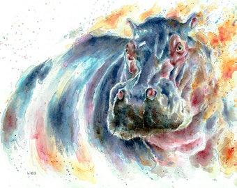 Burning Savanna hippo Original Watercolor Painting High Quality Giclée PRINT canvas home decor office nursery animal art gift africa