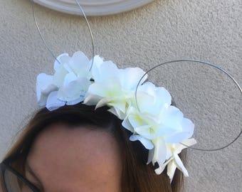 Bridal floral mickey ears