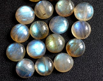 Natural labradorite cabochon round loose gemstone 6 mm AAA Quality