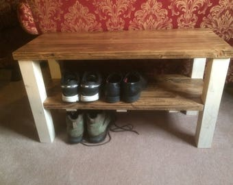 shabby chic bench shoe rack side table
