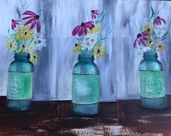 Three mason jars