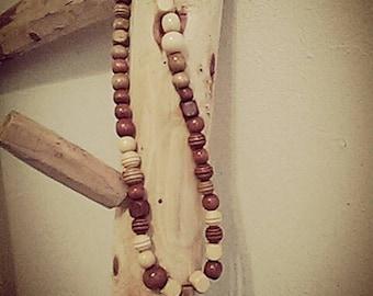 wood bead oak cross rosary