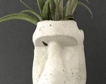 Easter island Moai cement vase, succulent and cactus planter, catch all.