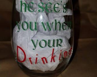21 oz. Customized Christmas Wine Glasses