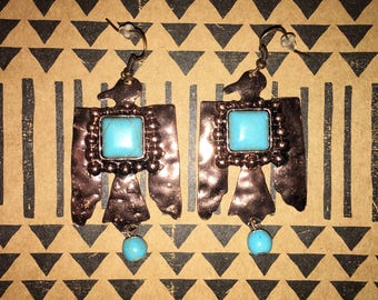 Turquoise & Bronze Thunderbird Earrings