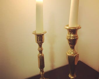 1950's Vintage Gold Candle Stick Holders