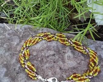 Yellow Spiral Beaded Bracelet