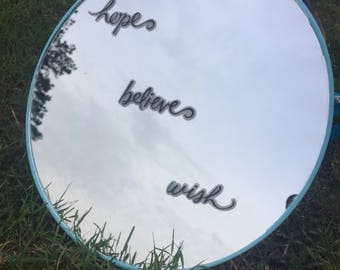 Hope Believe Wish Round Wall Mirror Inspirational Gifts Dorm Room Gift Turquoise Teal