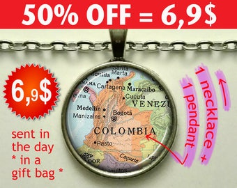 Colombia map pendant, Colombia map necklace, Colombia pendant, Colombia necklace map jewelry map Colombia keychain key chain key fob N066