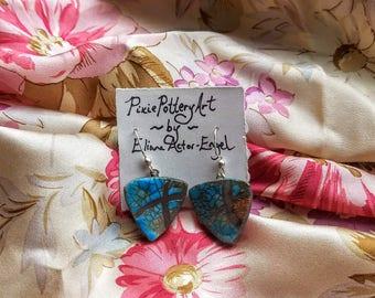 Triangular Handmade Raku Ceramic Turquoise Earrings