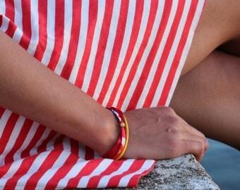 Fancy Bracelet: weave links, multicolored with yellow