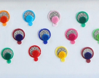 22 Plain Round Colored Bindis, Wedding Bindis,Velvet Colorful Bindis, Face Bindis,Bollywood Bindis,Self Adhesive Forehead Sticker