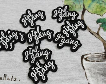 white girl gang wording patch, iron on patch, feminist patch, girl patch, white, embroidered patch, denim patch, DIY