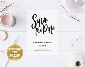 Editable PDF INSTANT DOWNLOAD Save The Date Template Digital Printable pdf Files Kraft Craft Paper Calligraphy Wedding Announcement N19