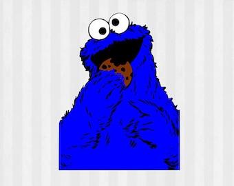 Cookie Monster SVG, Cookie Monster clipart, Sesame street svg, svg files for silhouette cameo, cricut explore, Sesame street clipart, vector
