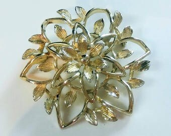 Signed Sarah Coventey Light Gold-Tone Flower Brooch Pin